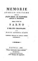 Image from object titled Memorie storico-critiche sullo stato fisico ed economico antico e moderno della città di Sarno e del suo circondario