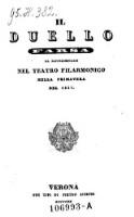 Image from object titled Il Duello Farsa Da Rappresentarsi Nel Teatro filarmonico Nella Primavera Del 1837 (musica di Pietro Candio)