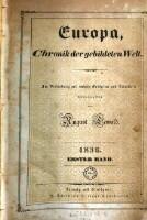 Image from object titled Europa, Chronik der gebildeten Welt ; In Verbindung mit mehreren Gelehrten und Künstlern herausgegeben von August Lewald (1836 1. Band)