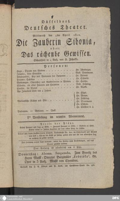 Image from object titled Die Zauberin Sidonia, oder: Das rächende Gewissen : Mittwoch den 4ten April 1810 ; Schauspiel in 4 Aufz. / von H. Zschokke. Personen: Hr. Illenberger, Mad. Trautmann ...