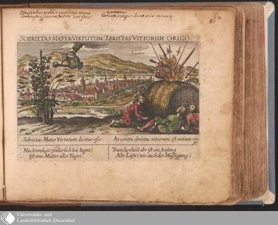 Image from object titled Landaw. Sobrietas Mater Virtutum: Ebrietas Vitiorum Origo / [Eberhard Kieser]
