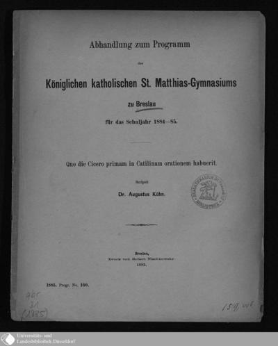 Image from object titled Quo die Cicero primam in Catilinam orationem habuerit / scripsit August Kühn