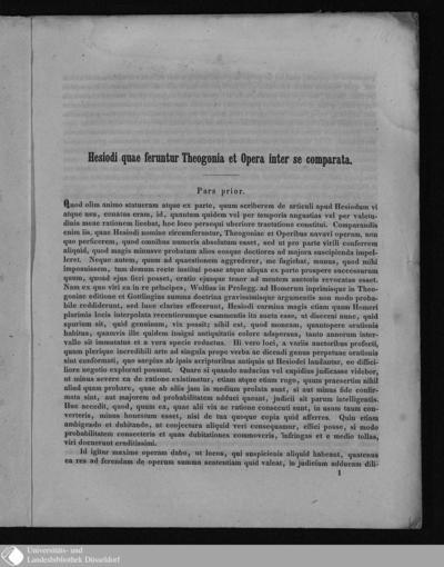 Image from object titled Hesiodi quae feruntur Theogonia et Opera inter se comparata / scripsit Guilielm. Kroemer
