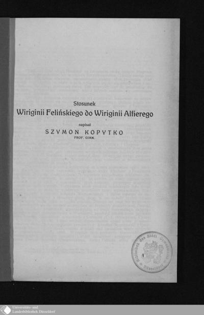 Image from object titled Stosunek Wiriginii Felińskiego do Wiriginii Alfierego / napisał Szymon Kopytko
