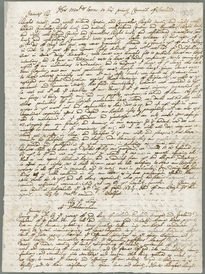 Image from object titled [Copy of 'His Majesties letter to his privy Council of Scotland' and 'The answer of ye Lords of ye Council to his Majesties Letter', 1687.]