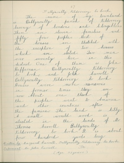 Image from object titled Ballnoulty, Kildorrery, Co. Cork [By Margaret Carroll, collected from Mr. John Carroll, Ballnoulty, Kildorrery, Co. Cork.]