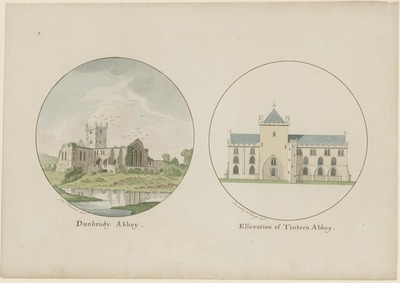 [Two watercolour paintings, one of 'Dunbrody Abbey' (Co. Wexford) / by Jonathan Fisher and one of an 'Ellevation of Tintern Abbey' (Co. Wexford) / by Sir Vesey Colclough.]