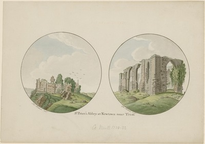 Image from object titled [Two watercolour paintings of 'St. Peter's Abbey [Newtown Abbey] at Newtown near Trim' (Co. Meath) / by Thomas Roberts.]
