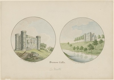 [Two watercolour paintings of 'Dunmow [Dunmoe] Castle' (Co. Meath) / by Thomas Roberts and Charles Vallancey, respectively.]