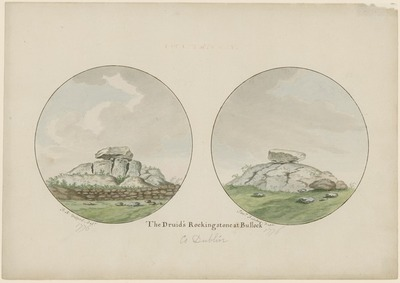 [Two watercolour paintings of 'The Druid's Rocking Stone at Bullock' (near Dalkey, Co. Dublin) / by Francis Xavier Vispre and Jonathan Fisher, respectively.]