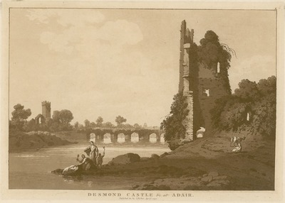 [Aquatint of 'Desmond Castle &c. at Adair [Adare]' (Co. Limerick) / by Jonathan Fisher.]