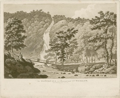[Aquatint of 'The Waterfall in Powerscourt Park, Co. Wicklow' / by Jonathan Fisher.]