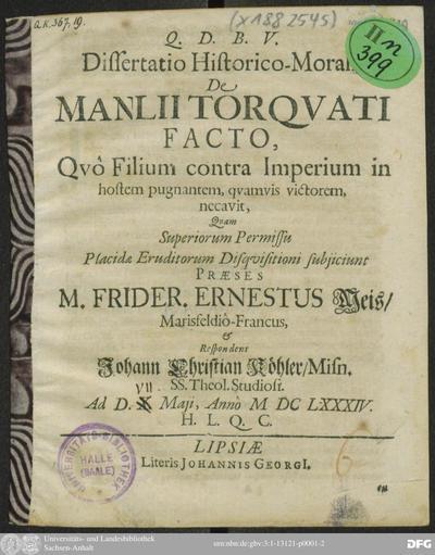 Image from object titled Dissertatio Historico-Moralis De Manlii Torquati Facto, Quo Filium contra Imperium in hostem pugnantem, quamvis victorem, necavit