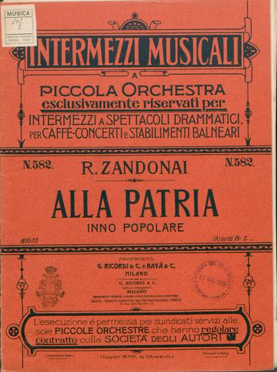 Image from object titled Alla patria : Inno popolare