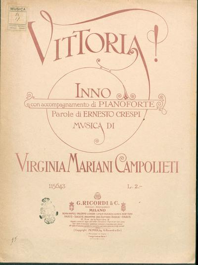 Image from object titled Vittoria! : inno, con accompagnamento di pianoforte / parole di Ernesto Crespi