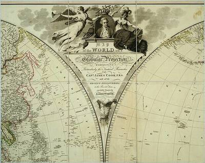 Map of the world on a globular projection, exhibiting particularly the nautical researches of cap.n James Cook ...  / carefully drawn by A. Arrowsmith  ; the plan work engraved by T. Foot  ; the writing by Wigzell & Mozeen...