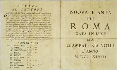 Nuova pianta di Roma  / data in luce da Giambattista Nolli  ; Rocco Pozzi romano, Pietro Campana da Soriano, e Carlo Nolli inc.