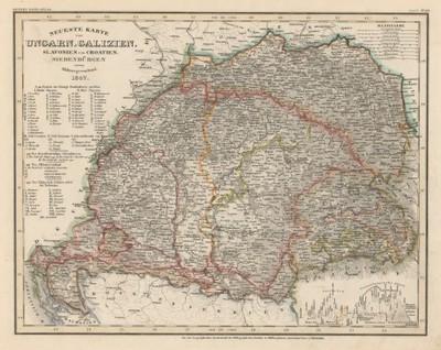 Image from object titled Neueste Karte von Ungarn, Galizien, Slavonien und Croatien, Siebenbürgen und dem Militairgrenzland / [Joseph] Meyer.
