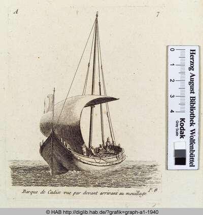 Barque de Cadiac vue par devant arrivant au mouillage