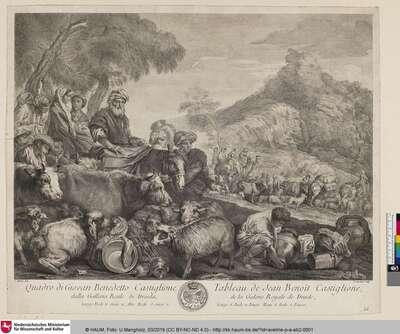 [Le voyage de Jacob avec sa famille; Jakob flieht mit Weib, Kind und Vieh von Laban]