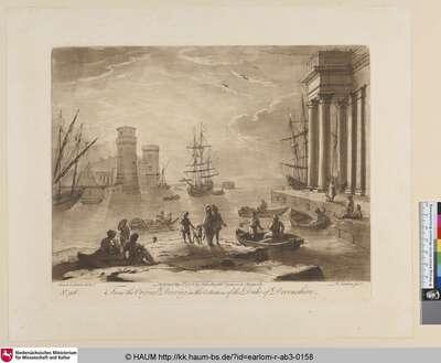 [Seehafen mit Säulengebäuden und Türmen. Aeneas mit Gefolge als Staffage]