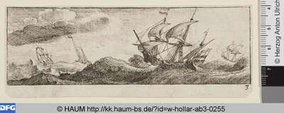 Vier Schiffe auf stürmischer See