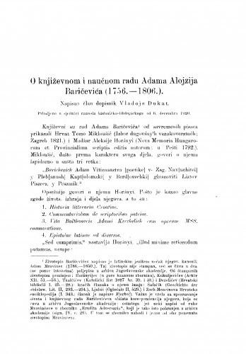 Image from object titled O književnom i naučnom radu Adama Alojzija Baričevića (1756.-1806.)