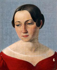 Weibliches Bildnis in rotem Kleid
