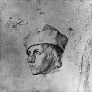 Bildnis eines jungen Mannes mit Barett, umgeben von weiteren, kleineren Skizzen nach demselben Modell