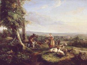 Landschaft mit Hirt und Melkerin