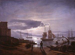 Der Kopenhagener Hafen im Mondschein