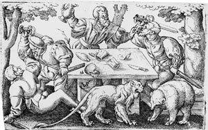 Vier streitende Soldaten mit einem Löwen und einem Bär