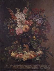 Frucht- und Blumenstillleben