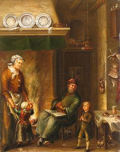 Eine Bauernfamilie beim Abendgebet