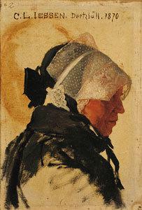 Frauenkopf mit friesischer Haube