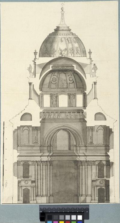 Projekt för kapellet i Versailles. Sektion med interiörelevation