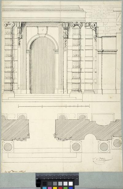 Tuilerierna, Paris. Fasad, sektion och plan av ingången mot gårdssidan