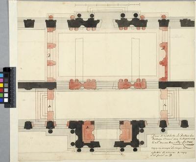 Tuilerierna, Paris. Plan av de två vestibulerna med förslag till utvidgning och sammanslagning av dessa