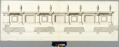Tuilerierna, Paris. Plan och fasad av attikaparti