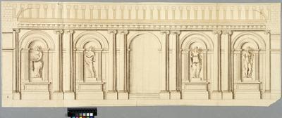 Tuilerierna, Paris. Interiörelevation med nischstatyer och sektion genom bjälklaget