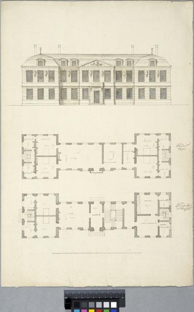 Mindre franskt palats. Entréfasad och planer av båda våningarna