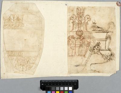 Två teckningar, t.v. en vas och t.h. en vas och en urna, monterade på gammalt brevomslag