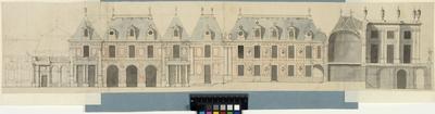 Versailles. Tvärsektion genom trädgårdsfasaden med elevation av gamla flygeln