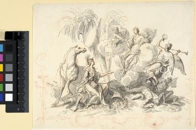 Allegorisk komposition med genier, Minerva och slagna barbarer
