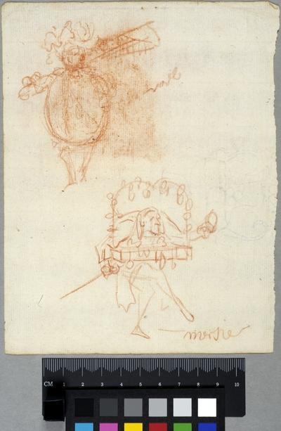 Två förslag till teaterskostymer / Två skämtfigurer;  den ena en sybehörshandlare som i böjd ställning bär sina varor, den andra med hjälm, fana och en stor, rund mage