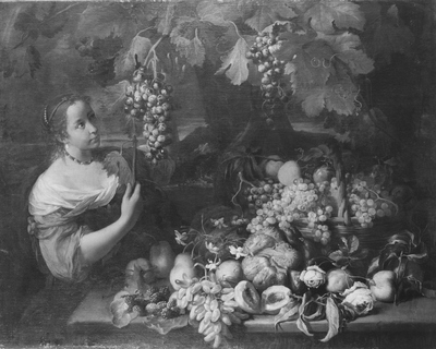 Image from object titled Girl with Grapes and Still Life with Fruit