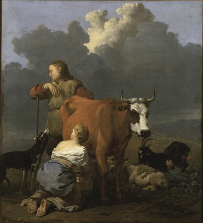Image from object titled Peasant Girl Milking a Cow