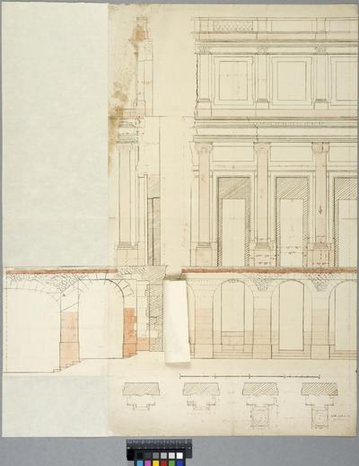 Versailles. Elevation, sektion och plandetaljer till trädgårdssidans terrass. Flik med alternativt murparti