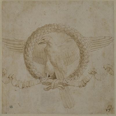 Örn omgiven av en eklövskrans