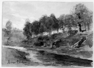 Landskap med en å i förgrunden